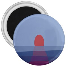 Sunrise Purple Orange Water Waves 3  Magnets by Alisyart