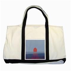 Sunrise Purple Orange Water Waves Two Tone Tote Bag by Alisyart