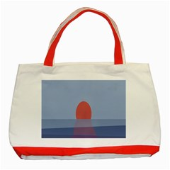 Sunrise Purple Orange Water Waves Classic Tote Bag (red) by Alisyart