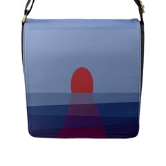 Sunrise Purple Orange Water Waves Flap Messenger Bag (l)  by Alisyart