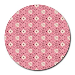 Pink Flower Floral Round Mousepads