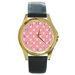 Pink Flower Floral Round Gold Metal Watch by Alisyart