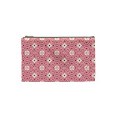 Pink Flower Floral Cosmetic Bag (small)  by Alisyart