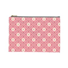 Pink Flower Floral Cosmetic Bag (large)  by Alisyart