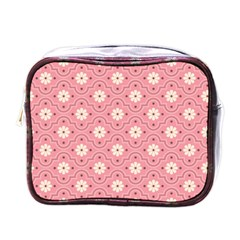Pink Flower Floral Mini Toiletries Bags by Alisyart