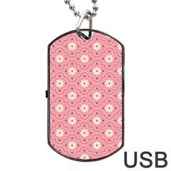 Pink Flower Floral Dog Tag Usb Flash (one Side) by Alisyart