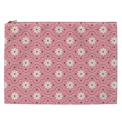 Pink Flower Floral Cosmetic Bag (xxl)  by Alisyart