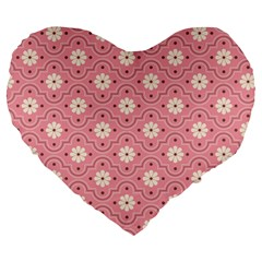 Pink Flower Floral Large 19  Premium Heart Shape Cushions by Alisyart