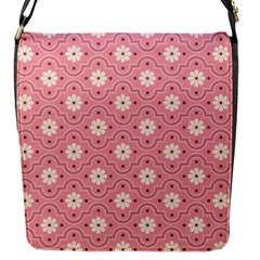 Pink Flower Floral Flap Messenger Bag (s) by Alisyart