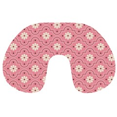 Pink Flower Floral Travel Neck Pillows by Alisyart