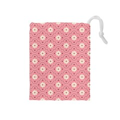 Pink Flower Floral Drawstring Pouches (medium)  by Alisyart