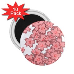 Flower Floral Pink 2 25  Magnets (10 Pack)  by Alisyart