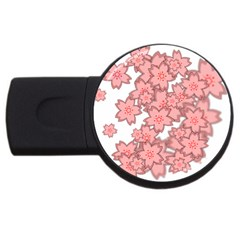 Flower Floral Pink Usb Flash Drive Round (2 Gb) by Alisyart
