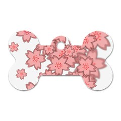 Flower Floral Pink Dog Tag Bone (two Sides) by Alisyart