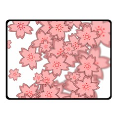 Flower Floral Pink Fleece Blanket (small) by Alisyart