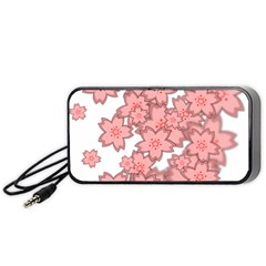 Flower Floral Pink Portable Speaker (black) by Alisyart