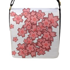 Flower Floral Pink Flap Messenger Bag (l)  by Alisyart
