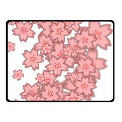 Flower Floral Pink Double Sided Fleece Blanket (small)  by Alisyart