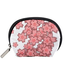 Flower Floral Pink Accessory Pouches (small)  by Alisyart