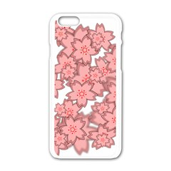Flower Floral Pink Apple Iphone 6/6s White Enamel Case by Alisyart