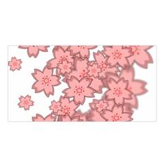 Flower Floral Pink Satin Shawl by Alisyart