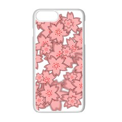 Flower Floral Pink Apple Iphone 7 Plus White Seamless Case by Alisyart