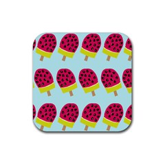 Watermelonn Red Yellow Blue Fruit Ice Rubber Coaster (square)  by Alisyart