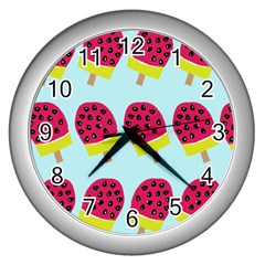 Watermelonn Red Yellow Blue Fruit Ice Wall Clocks (silver)  by Alisyart