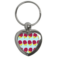 Watermelonn Red Yellow Blue Fruit Ice Key Chains (heart)  by Alisyart