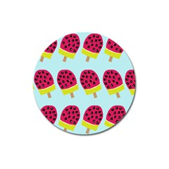 Watermelonn Red Yellow Blue Fruit Ice Magnet 3  (round) by Alisyart