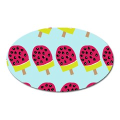 Watermelonn Red Yellow Blue Fruit Ice Oval Magnet by Alisyart