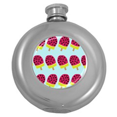 Watermelonn Red Yellow Blue Fruit Ice Round Hip Flask (5 Oz) by Alisyart