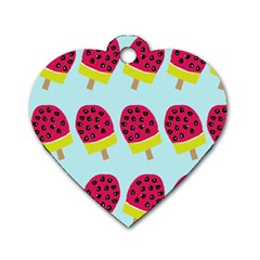 Watermelonn Red Yellow Blue Fruit Ice Dog Tag Heart (one Side) by Alisyart