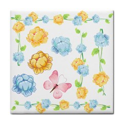 Rose Flower Floral Blue Yellow Gold Butterfly Animals Pink Tile Coasters by Alisyart