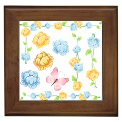 Rose Flower Floral Blue Yellow Gold Butterfly Animals Pink Framed Tiles by Alisyart