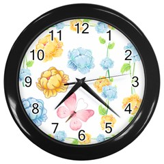 Rose Flower Floral Blue Yellow Gold Butterfly Animals Pink Wall Clocks (black) by Alisyart