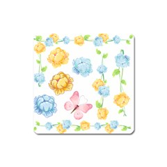 Rose Flower Floral Blue Yellow Gold Butterfly Animals Pink Square Magnet by Alisyart