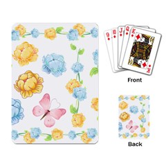 Rose Flower Floral Blue Yellow Gold Butterfly Animals Pink Playing Card by Alisyart