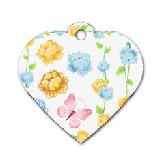 Rose Flower Floral Blue Yellow Gold Butterfly Animals Pink Dog Tag Heart (two Sides) by Alisyart