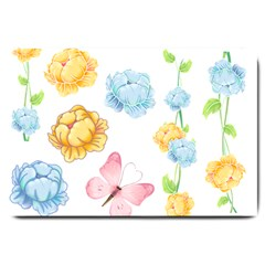 Rose Flower Floral Blue Yellow Gold Butterfly Animals Pink Large Doormat