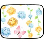 Rose Flower Floral Blue Yellow Gold Butterfly Animals Pink Double Sided Fleece Blanket (Mini)  35 x27 Blanket Back