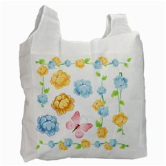 Rose Flower Floral Blue Yellow Gold Butterfly Animals Pink Recycle Bag (one Side) by Alisyart