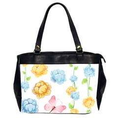 Rose Flower Floral Blue Yellow Gold Butterfly Animals Pink Office Handbags (2 Sides)