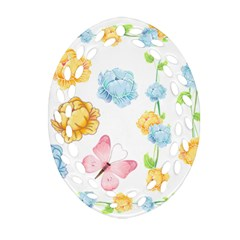 Rose Flower Floral Blue Yellow Gold Butterfly Animals Pink Ornament (oval Filigree) by Alisyart