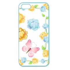 Rose Flower Floral Blue Yellow Gold Butterfly Animals Pink Apple Seamless Iphone 5 Case (color) by Alisyart