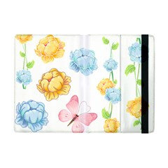 Rose Flower Floral Blue Yellow Gold Butterfly Animals Pink Apple Ipad Mini Flip Case by Alisyart