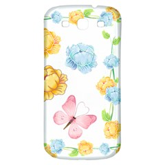 Rose Flower Floral Blue Yellow Gold Butterfly Animals Pink Samsung Galaxy S3 S Iii Classic Hardshell Back Case by Alisyart
