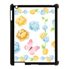Rose Flower Floral Blue Yellow Gold Butterfly Animals Pink Apple Ipad 3/4 Case (black) by Alisyart