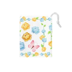 Rose Flower Floral Blue Yellow Gold Butterfly Animals Pink Drawstring Pouches (small)  by Alisyart
