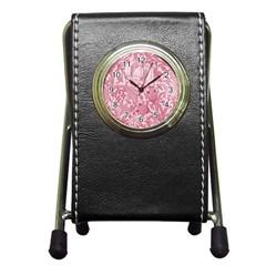 Vintage Style Floral Flower Pink Pen Holder Desk Clocks by Alisyart